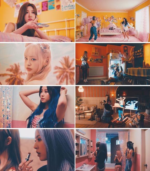 루나솔라가 2번째 싱글 앨범 'SOLAR : rise'의 타이틀곡 'DADADA' 뮤직비디오 티저 영상을 공개했다. 유쾌하고 펑키한 멤버들의 모습이 담겼다. /제이플래닛엔터 제공