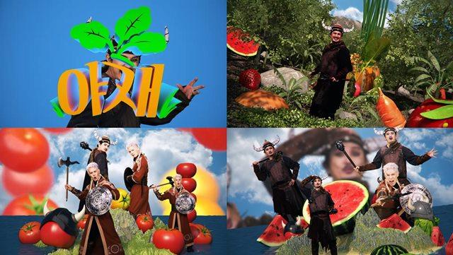 듀오 노라조가 국내 유명 야채 주스 브랜드 '하루야채'의 광고 모델로 발탁됐다. /마루기획 제공