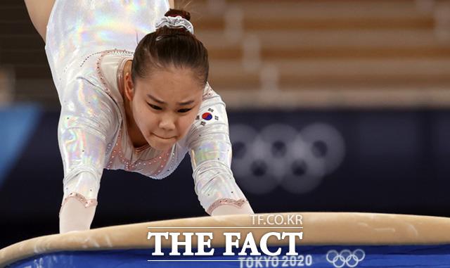 2020 도쿄올림픽 개막을 하루 앞둔 22일 체조 국가대표 여서정이 일본 도쿄 아리아케 체조 경기장에서 도마 연습을 하고 있다./도쿄=뉴시스