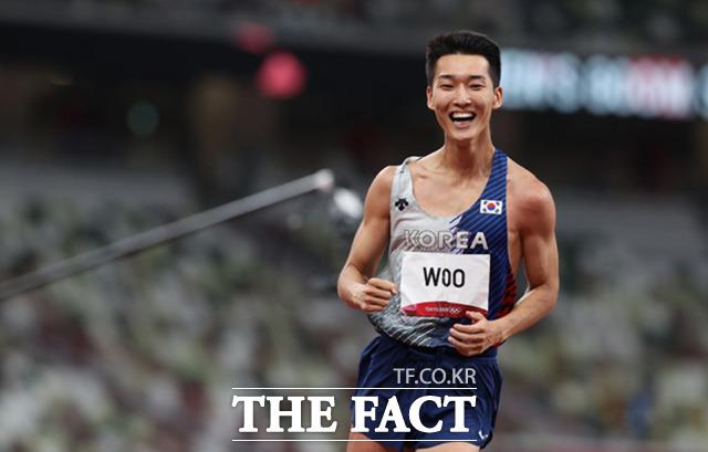 우상혁이 1일 오후 도쿄 올림픽스타디움에서 열린 2020 도쿄올림픽 남자 높이뛰기 결선에서 4위를 차지했다. / 도쿄=뉴시스