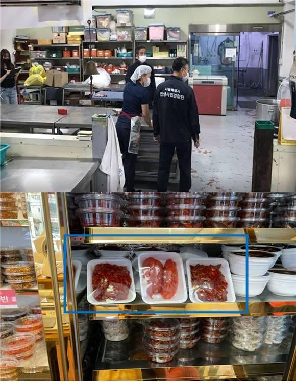서울시 민생사법경찰단이 추석 명절을 앞두고 추석 성수식품 제조 및 판매업소 60곳을 조사한 결과를 발표했다. 사진은 현장점검 당시 모습이며 원산지 표시를 하지 않은 업소의 반찬류. /서울시 제공