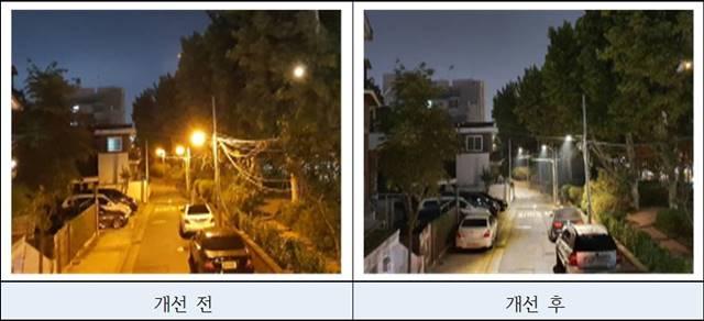 서울시가 스마트보안등으로 교체하기 전과 후의 모습. /서울시 제공