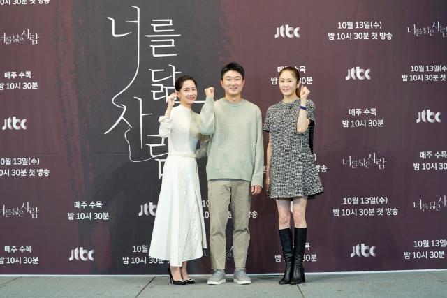 신현빈, 임현욱 감독, 고현정(왼쪽부터 차례대로)이 JTBC 새 수목드라마 '너를 닮은 사람' 제작발표회에 참석했다. /JTBC 제공